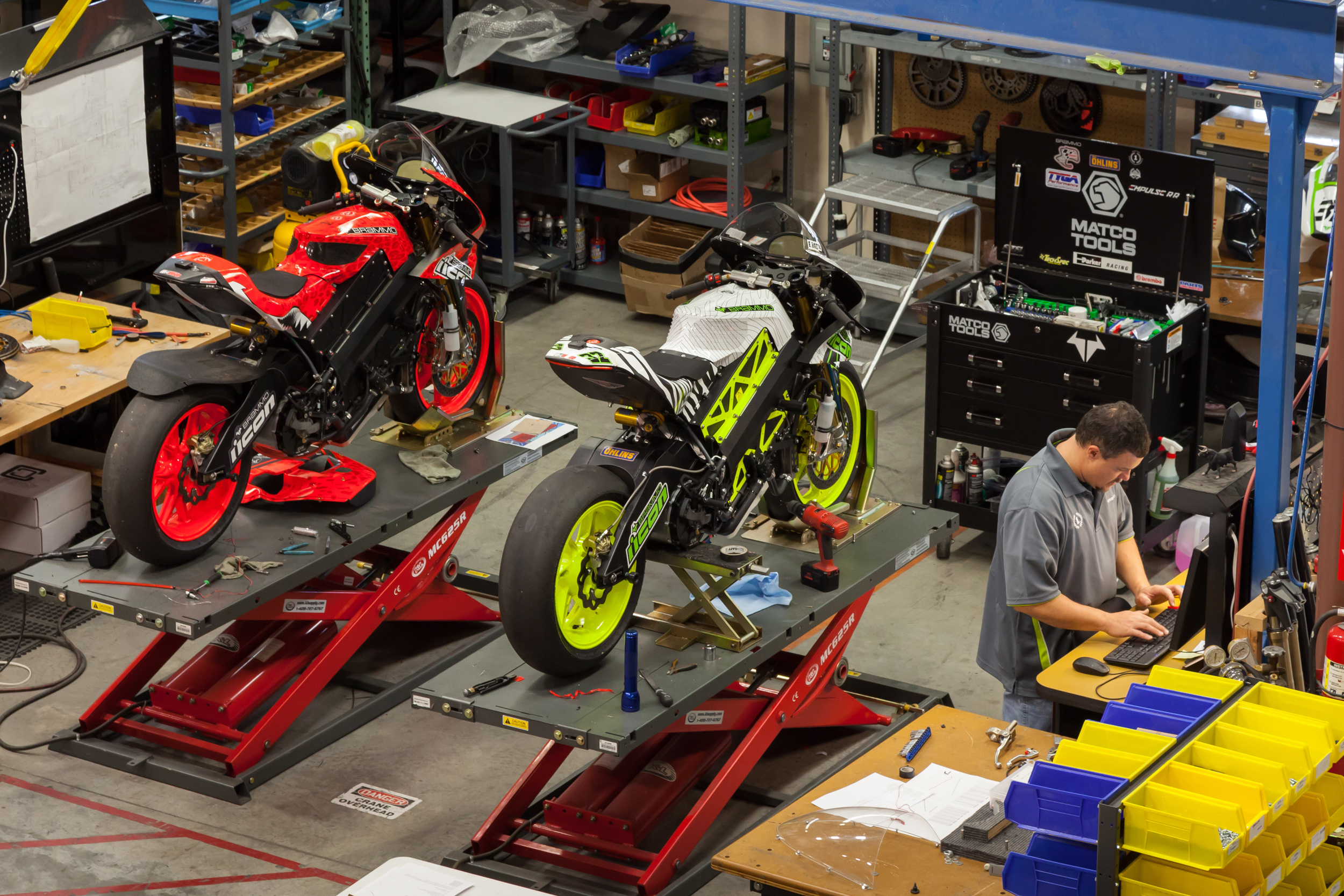 Preparing the Empulse RR bikes for racing.