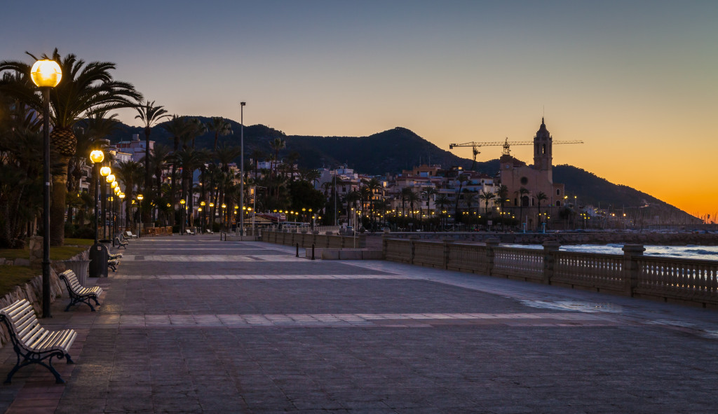 The town of Sitges before sunrise while everything is still quiet.